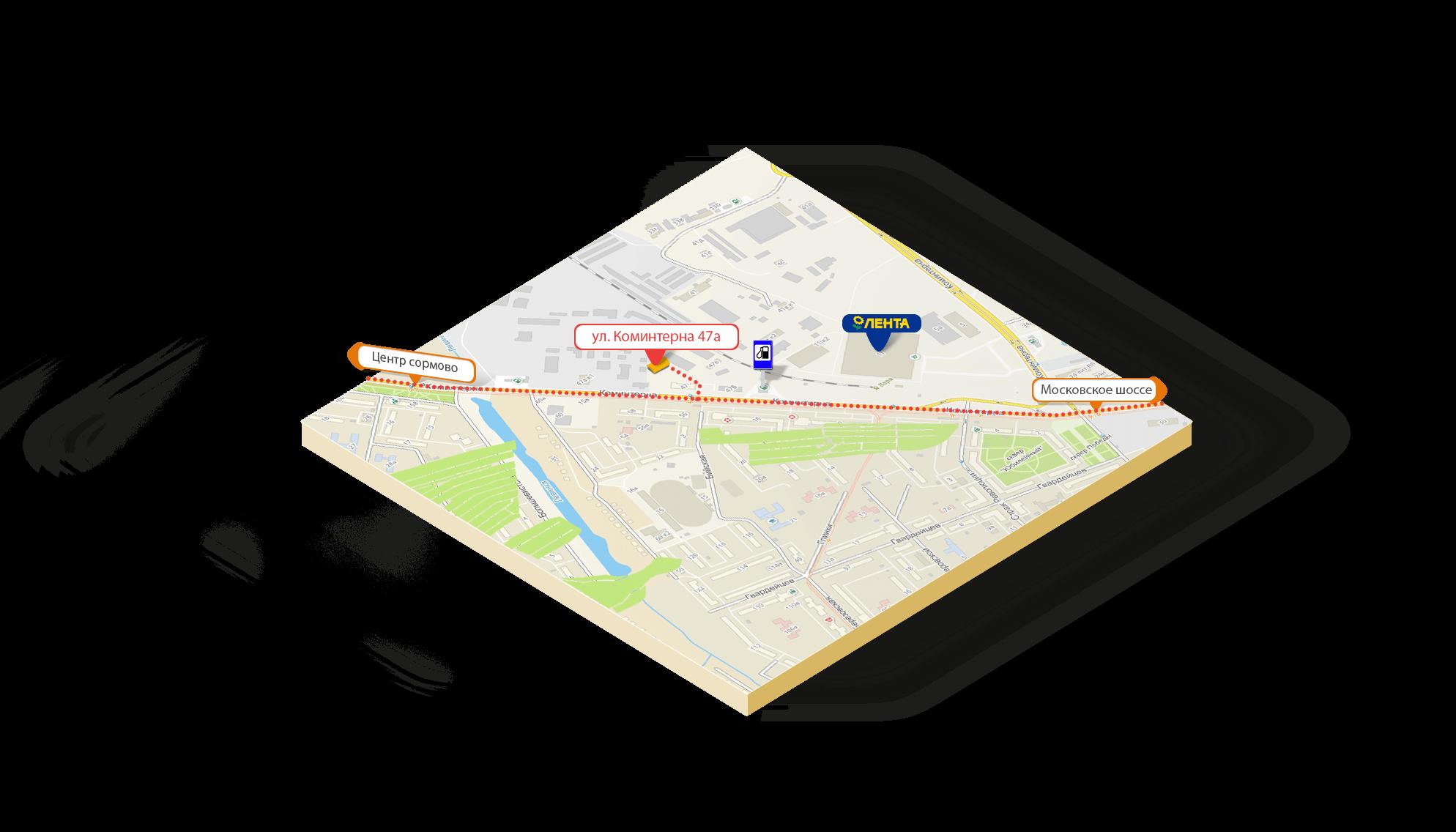 Схема проезда на склад ул. Коминтерна, 47А